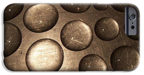 Stainless Steel Pyrography iPhone Cases - Water Droplets iPhone Case by Daniel P Cronin