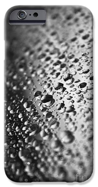 Black Dog iPhone Cases - Water Drops On Surface iPhone Case by Dan Radi