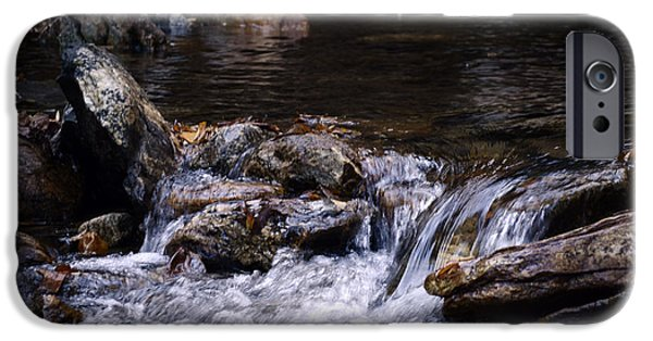 Water Colors Pyrography iPhone Cases - Water Fall iPhone Case by Scott Christofferson