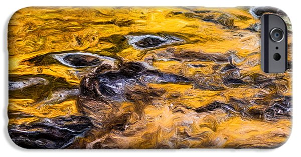 Abstract Digital Tapestries - Textiles iPhone Cases - Water Flow Abstract iPhone Case by Dennis Bucklin