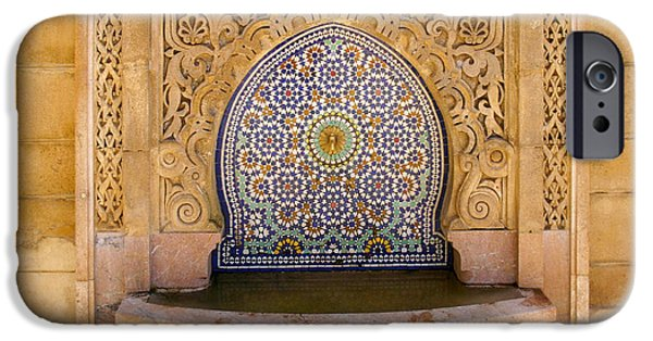 Rabat Photographs iPhone Cases - Water Fountain Mausoleum of Mohammed V opposite Hassan Tower Rabat Morocco  iPhone Case by Ralph A  Ledergerber-Photography