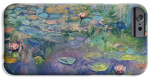 Pastel Paintings iPhone Cases - Water Garden iPhone Case by Michael Creese