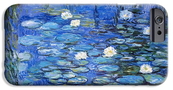Willow Lake iPhone Cases - water lilies a la Monet iPhone Case by Joachim G Pinkawa