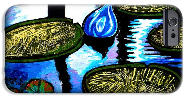 Balck Art iPhone Cases - Water Lilies and Chihuly Glass Baubles At Missouri Botanical Garden iPhone Case by Genevieve Esson
