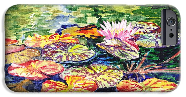 Celebration Paintings iPhone Cases - Water Lilies iPhone Case by Irina Sztukowski