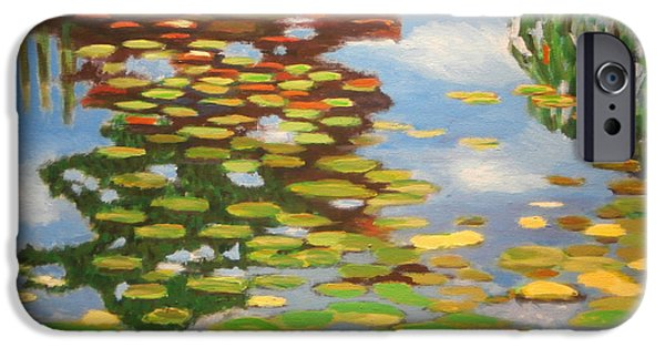 Garden Scene Paintings iPhone Cases - Water Lilies iPhone Case by Karyn Robinson