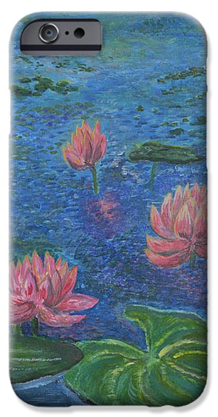 Water lilies lounge 2 iPhone Case by Felicia Tica