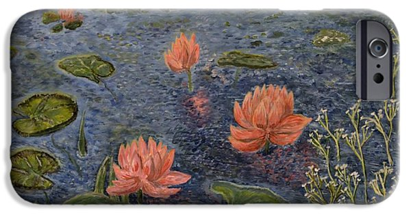 Innocence iPhone Cases - Water Lilies lounge iPhone Case by Felicia Tica