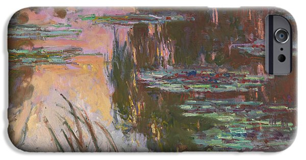 1907 Paintings iPhone Cases - Water-Lilies Setting Sun iPhone Case by Claude Monet