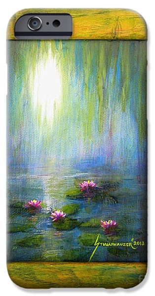 Willow Lake Paintings iPhone Cases - Water Lilies with Painted Frame iPhone Case by Jerome Stumphauzer
