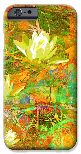 Recently Sold -  - Nature Abstract iPhone Cases - Water Lily Collage abstract flowers  nature art  iPhone Case by Ann Powell