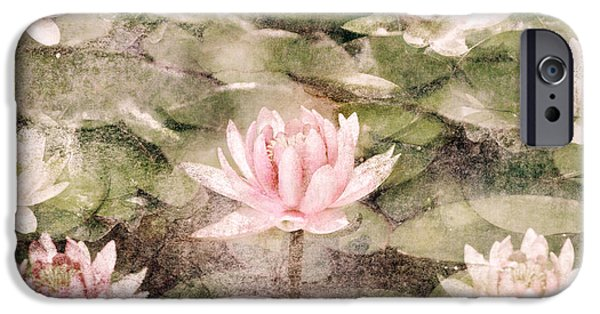 Grungy Pyrography iPhone Cases - Water Lily iPhone Case by Jelena Jovanovic