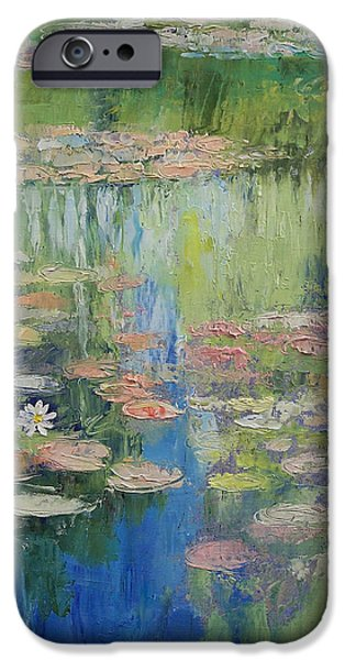 Pastel Paintings iPhone Cases - Water Lily Pond iPhone Case by Michael Creese