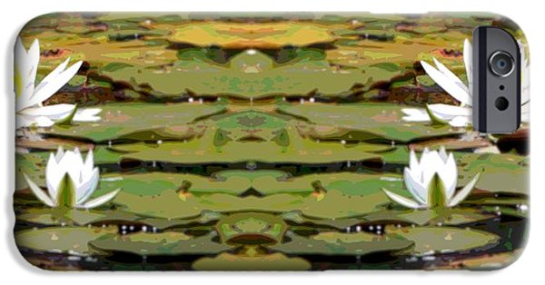 Aquatic Mixed Media iPhone Cases - Water Lily Poster iPhone Case by Dan Sproul
