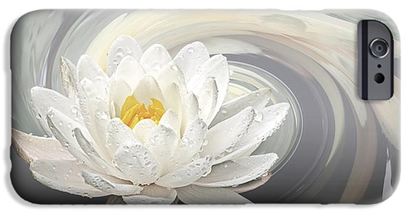 Water Lilly iPhone Cases - Water Lily Whirlpool iPhone Case by Gill Billington