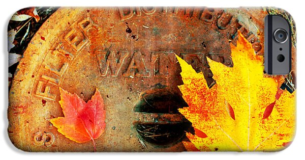 Rust iPhone Cases - Water Meter Cover With Autumn Leaves Abstract iPhone Case by Andee Design
