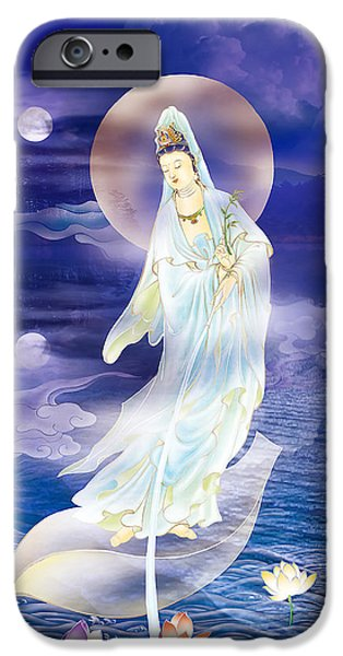 Yin iPhone Cases - Water Moon Avalokitesvara  iPhone Case by Lanjee Chee