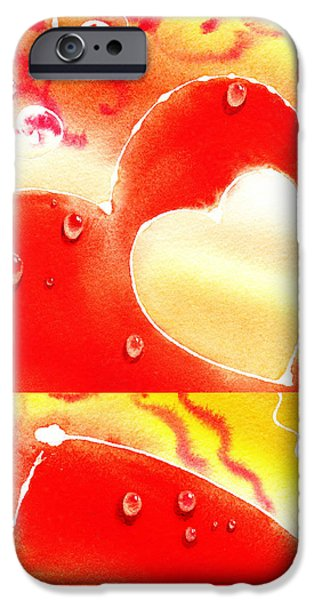 Galaxy Paintings iPhone Cases - Water On Color Collage Two iPhone Case by Irina Sztukowski