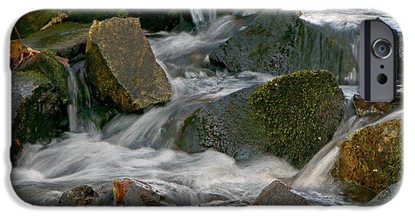 Autumn Leaf On Water iPhone Cases - Water Over Rocks iPhone Case by Sharon  Talson