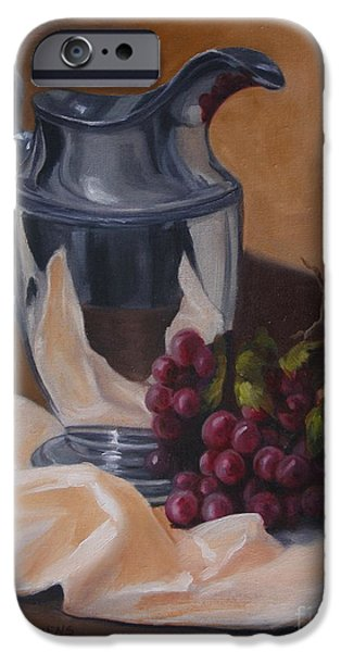 Old Pitcher Paintings iPhone Cases - Water Pitcher With Fruit iPhone Case by Lisa Phillips Owens
