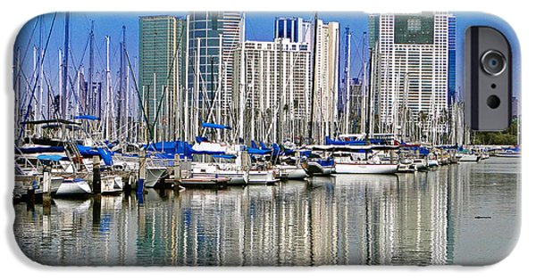 Sailing iPhone Cases - Water Reflections in Honolulu iPhone Case by Sue Melvin
