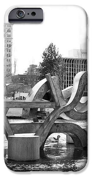 Water Sculpture in Spokane iPhone Case by Carol Groenen