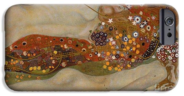 Figure iPhone Cases - Water Serpents II iPhone Case by Gustav Klimt
