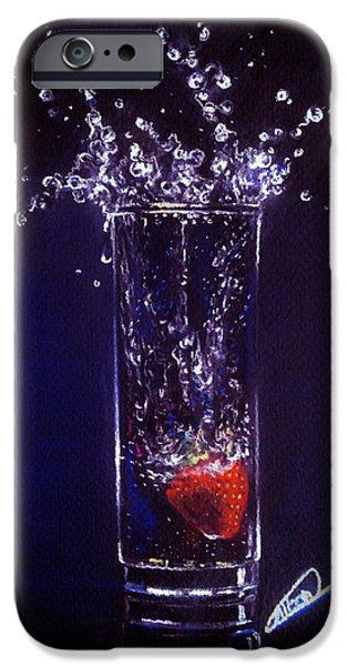 Food And Beverage Pastels iPhone Cases - Water Splash reflection iPhone Case by Alban Dizdari