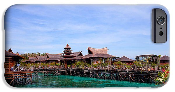 Exoticism iPhone Cases - Water village Borneo Malaysia iPhone Case by Fototrav Print