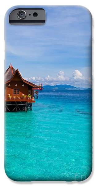 Exoticism iPhone Cases - Water village on Mabul island Borneo Malaysia iPhone Case by Fototrav Print