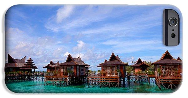 Exoticism iPhone Cases - Water village on Mabul island Sipadan Borneo Malaysia iPhone Case by Fototrav Print