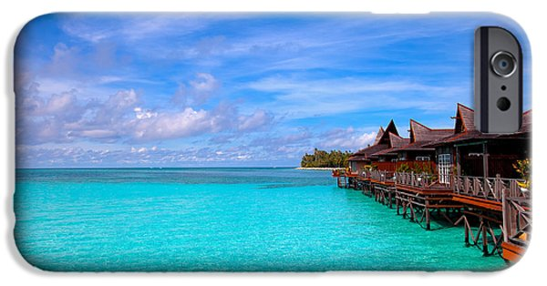 Exoticism iPhone Cases - Water village on tropical island iPhone Case by Fototrav Print