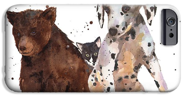 Baby Animal iPhone Cases - Watercolor Animal Painting iPhone Case by Alison Fennell
