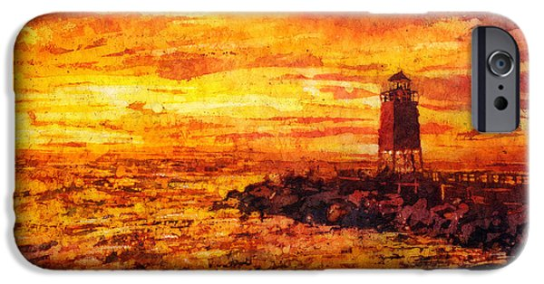 Chicago Paintings iPhone Cases - Watercolor batik of Charlevoix lighthouse at sunset iPhone Case by Ryan Fox