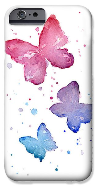 Insect iPhone Cases - Watercolor Butterflies iPhone Case by Olga Shvartsur