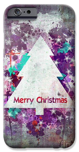Christmas Greeting iPhone Cases - Watercolor Christmas tree card iPhone Case by Delphimages Photo Creations