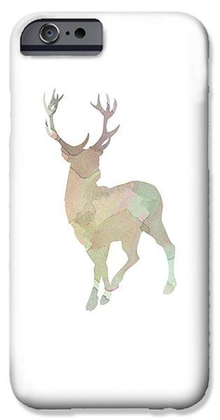 Deer Digital iPhone Cases - Watercolor Deer iPhone Case by Sara Habecker