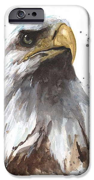 Eagle Paintings iPhone Cases - Watercolor Eagle iPhone Case by Alison Fennell