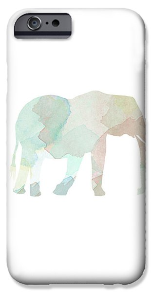 Elephants iPhone Cases - Watercolor Elephant iPhone Case by Sara Habecker