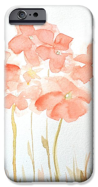 Girls In Pink iPhone Cases - Watercolor Flower Field iPhone Case by Patricia Awapara