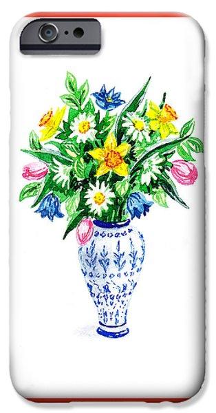 Flower Bouquet iPhone Cases - Watercolor Flowers Bouquet In Chinese Antique Vase iPhone Case by Irina Sztukowski