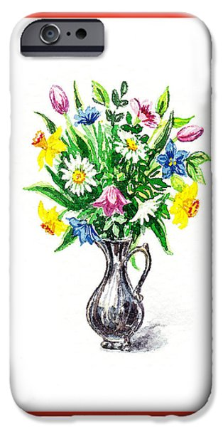 Impressionistic Landscape Paintings iPhone Cases - Watercolor Flowers Bouquet In Metal Pitcher Impressionism iPhone Case by Irina Sztukowski