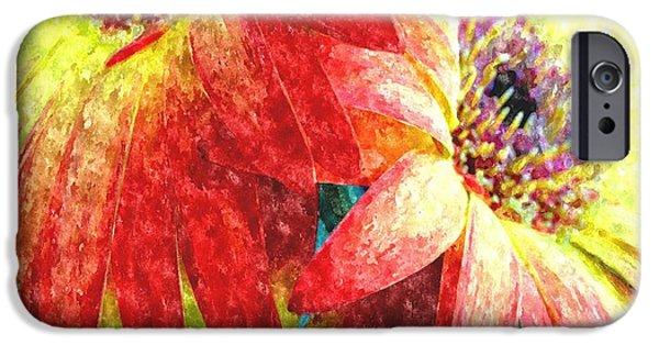 Abstract Digital Paintings iPhone Cases - Watercolor Flowers For Miriam Meij H b iPhone Case by Gert J Rheeders