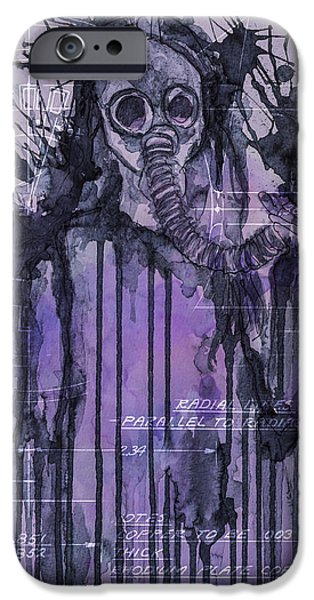 Ruin Mixed Media iPhone Cases - Watercolor female portrait grunge gas mask iPhone Case by Andy Gimino