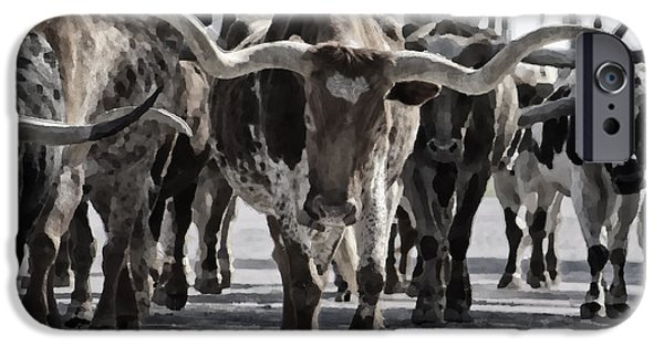 Animal Photographs iPhone Cases - Watercolor Longhorns iPhone Case by Joan Carroll