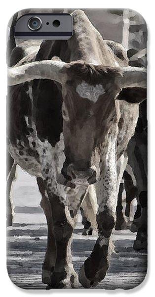 Watercolor Longhorns iPhone Case by Joan Carroll