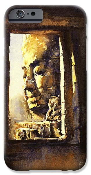 Bodhisattva iPhone Cases - Watercolor of Cambodian temple iPhone Case by Ryan Fox