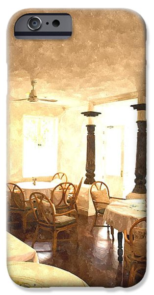 Empty Chairs Paintings iPhone Cases - Watercolor of cozy dining room iPhone Case by Ammar Mas-oo-di