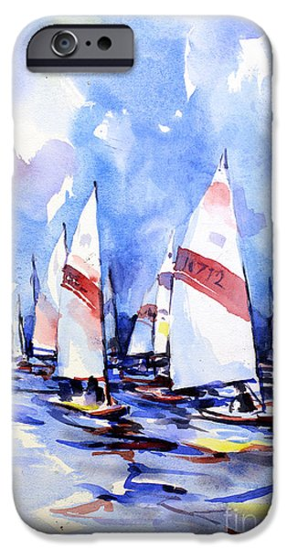 Chicago Paintings iPhone Cases - Watercolor of scow boats racing Torch Lake MI iPhone Case by Ryan Fox