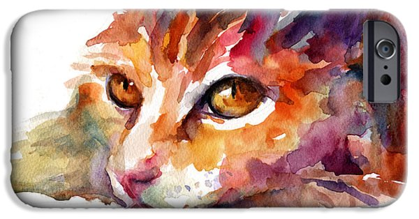 """texas Artist"" iPhone Cases - Watercolor orange tubby cat iPhone Case by Svetlana Novikova"